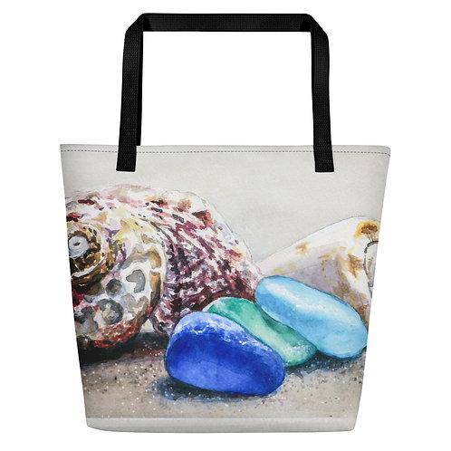 Sea Glass and Seashells on the Beach: Beach Bag