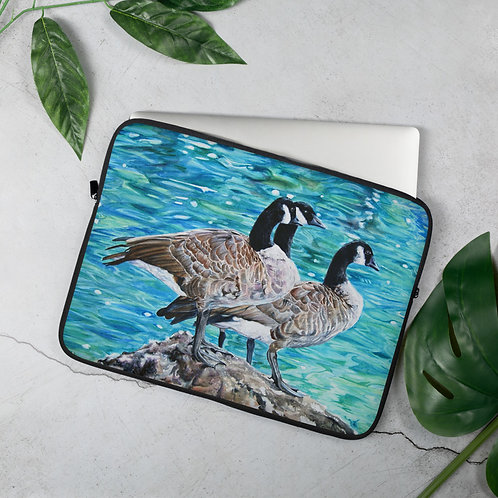 Geese Sunbathing: Laptop Sleeve