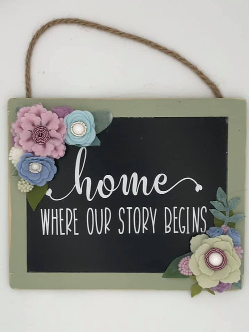 Home Is Where Our Story Begins Sign