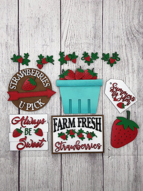 STRAWBERRY Tiered Tray Kit-Unpainted DIY and Painted For You