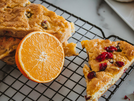 Recipe | Orange Cranberry Scones with Citrus Glaze (GF, DF, No Sugar Added)