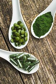Green chlorella pills or green barley pi