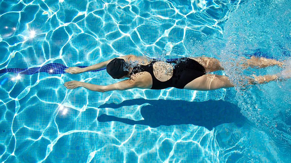 Women swimming a pool