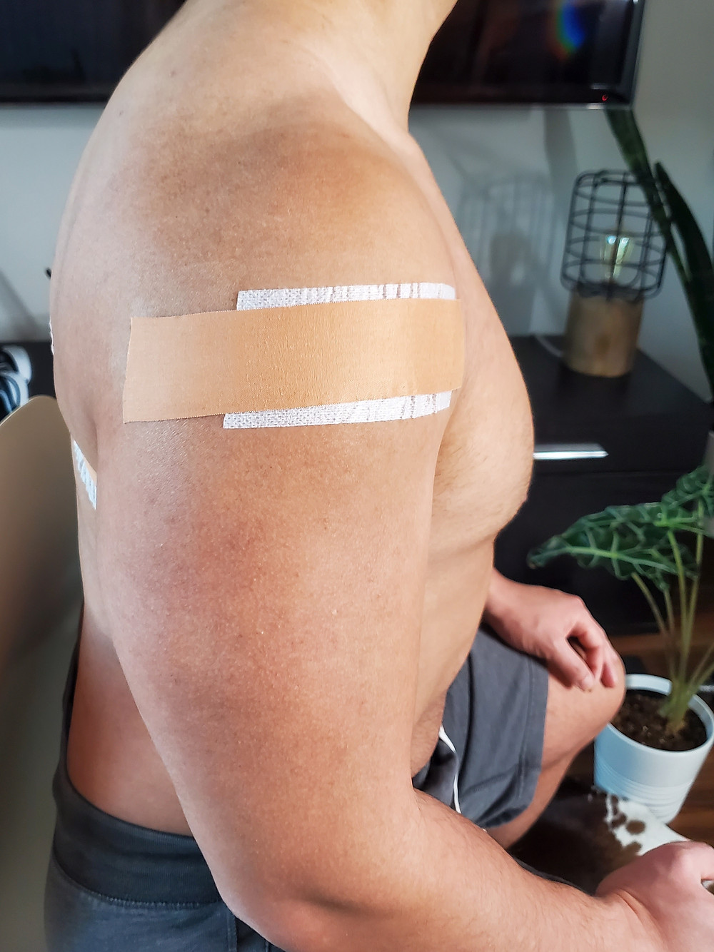 Leuko tape to support the shoulder like a sling