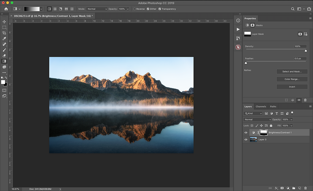 photoshop gradient layer mask tool