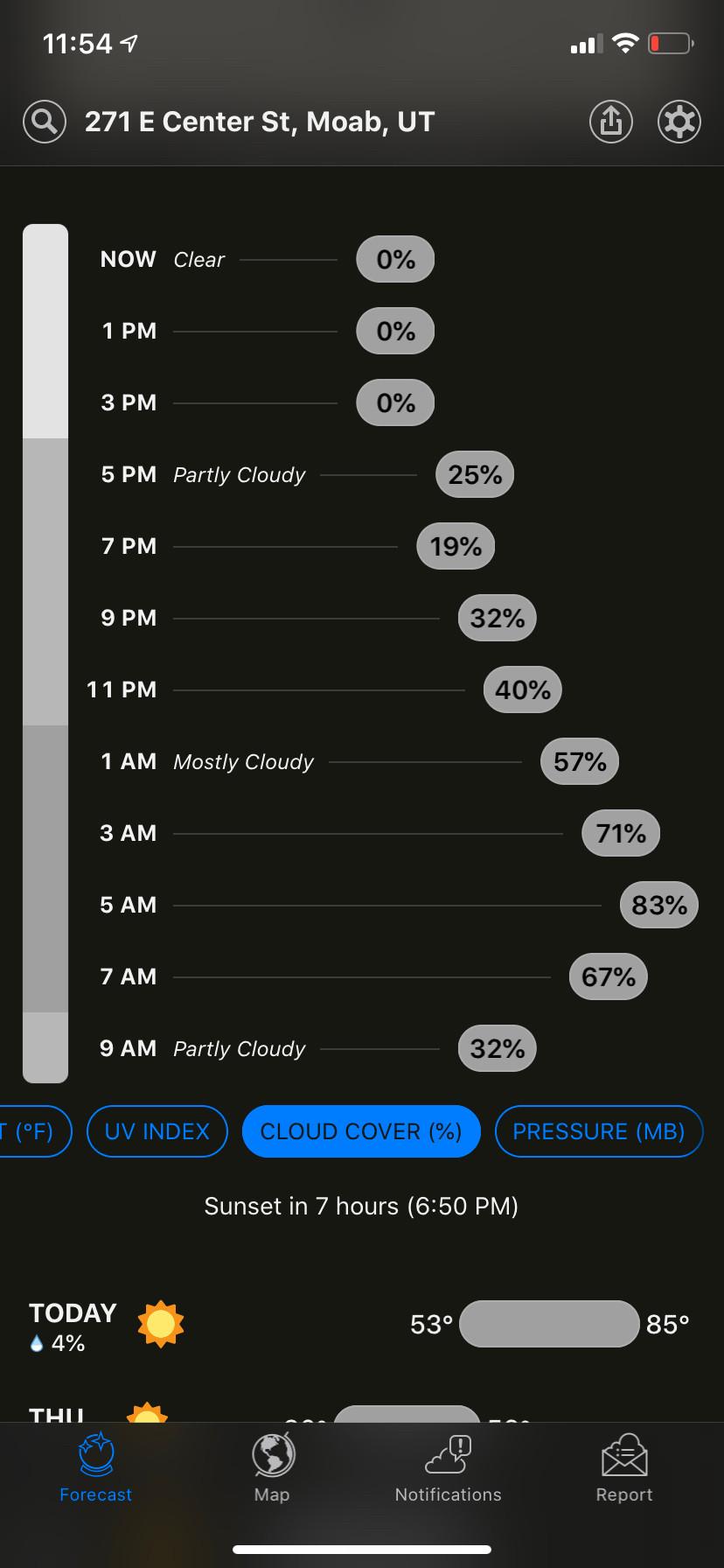 viewing cloud cover in the dark sky app