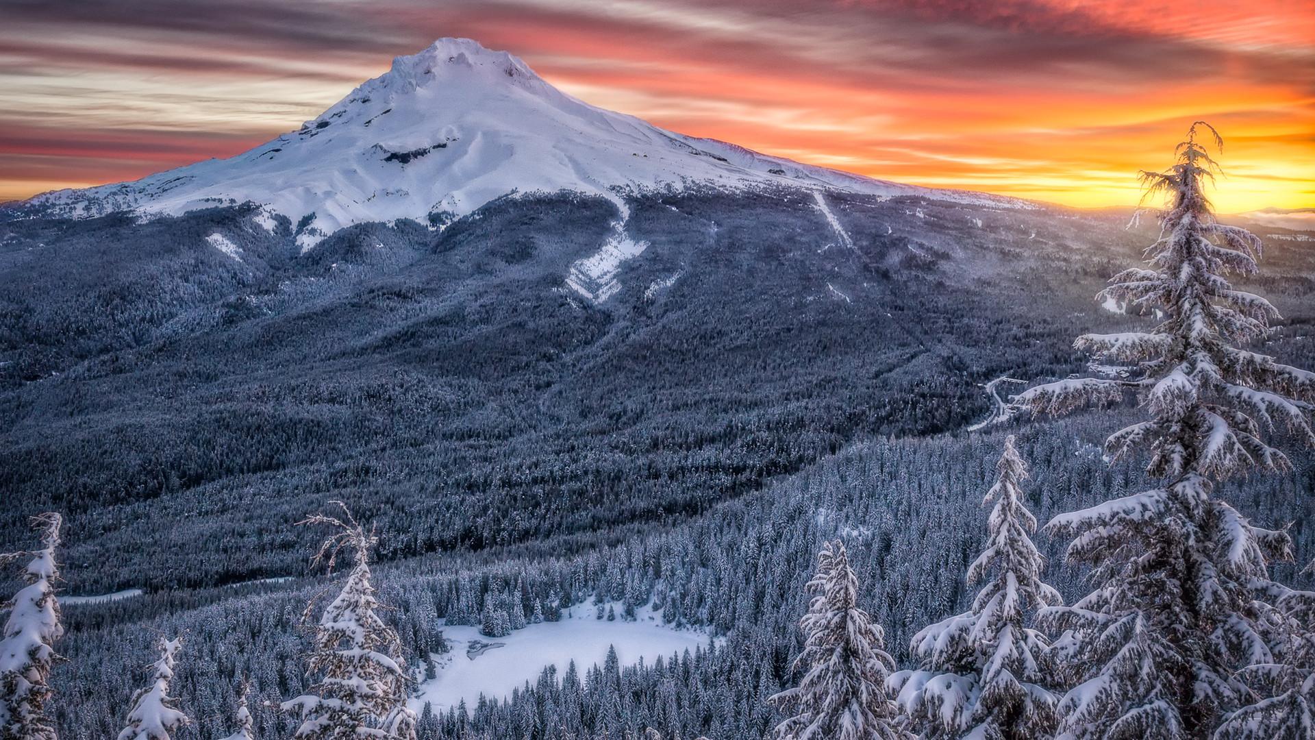 Midwinter's Sunrise Over Mt. Hood