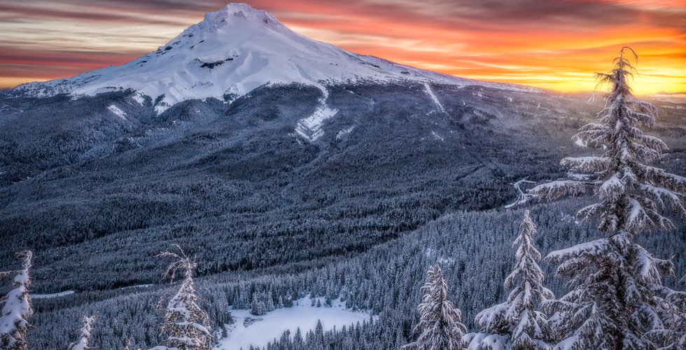 Midwinter's Sunrise Over Mt. Hood