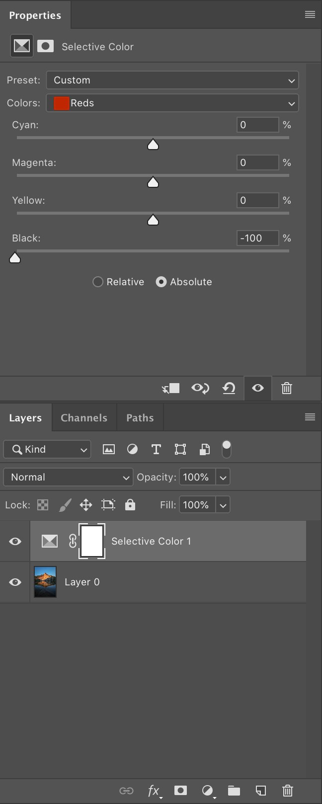 Photoshop selective color adjustment