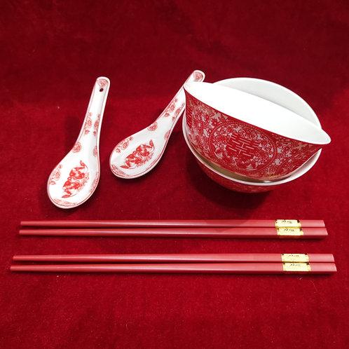 Chinese Bowl Set (paper cut design)