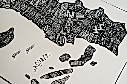 Basile Jeandin | Mapa de Portugal | Lettering map of Portugal | Portuguese authors map