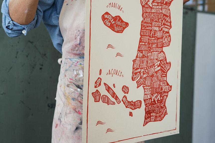 Basile Jeandin | Mapa de Portugal | Lettering map of Portugal | Portuguese authors map