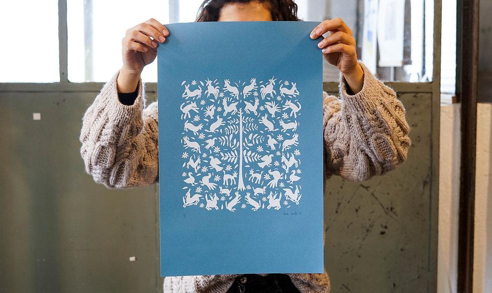 Basile Jeandin | Sofias's Otomis screen print illustration serigraphy
