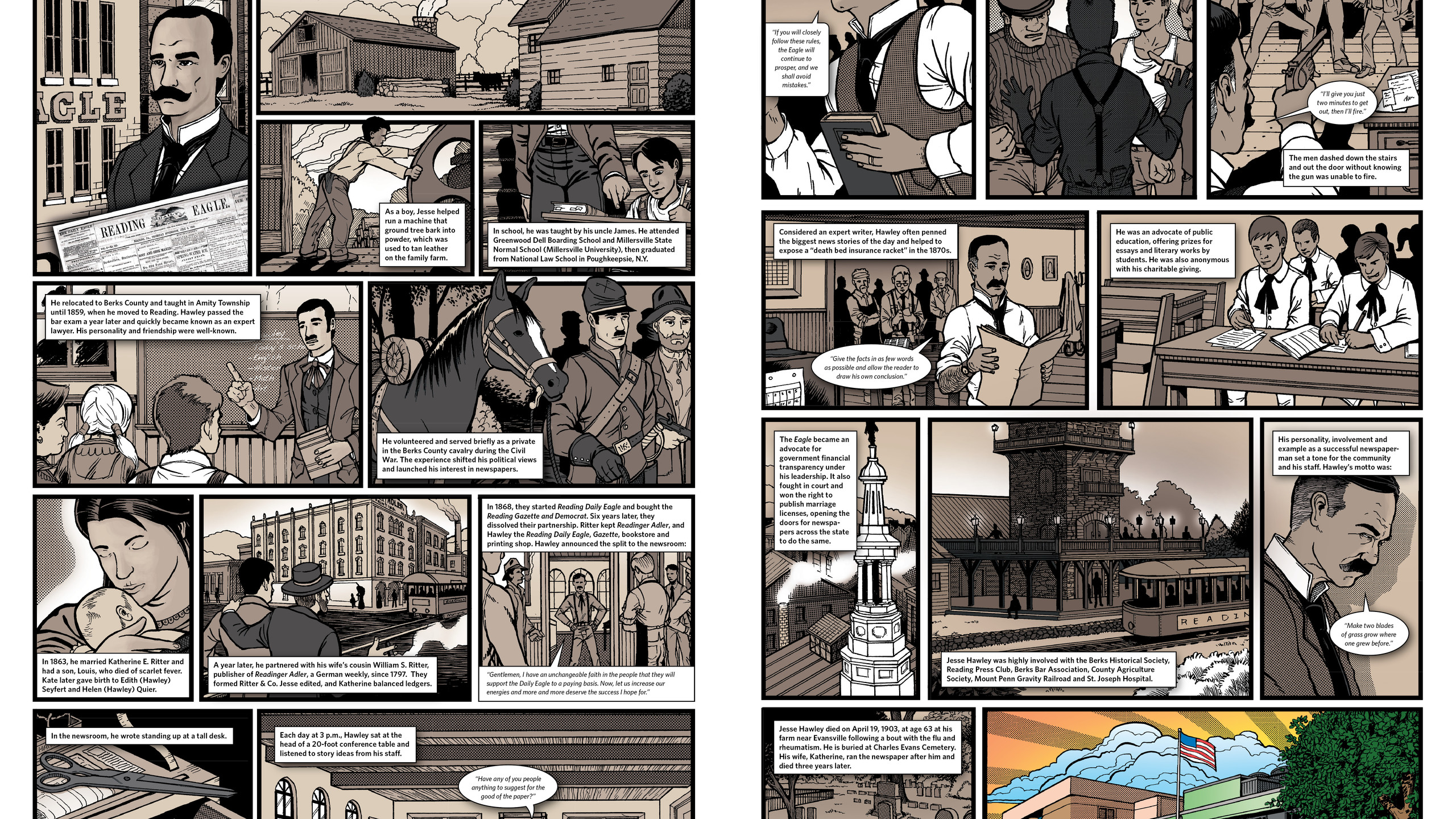 Hawley comic spread