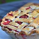 Strawberry Rhubarb and Rosemary Pie