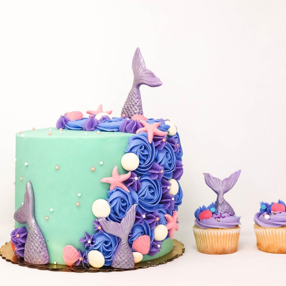 Mermaid Cake and Cupcakes