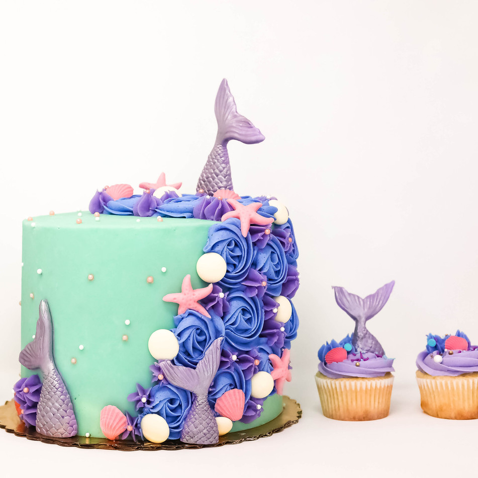 Mermaid Cake and Cupcakes