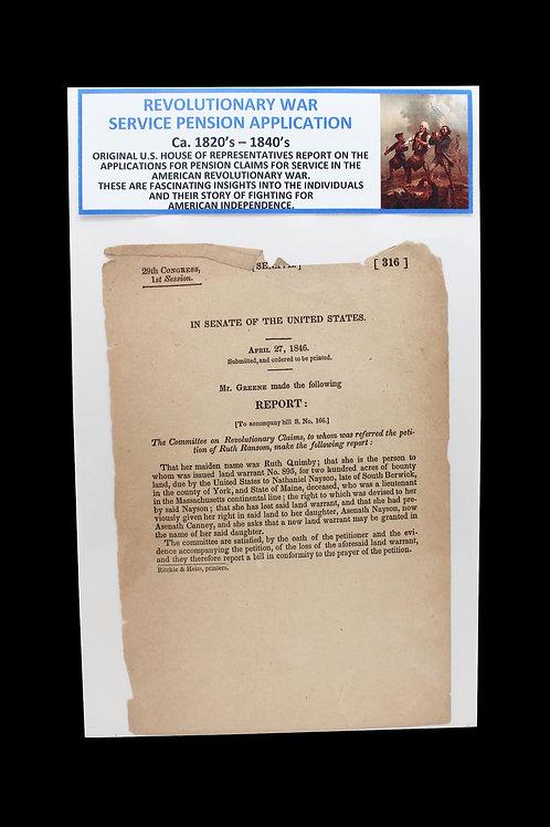 Revolutionary War Service Pension Application