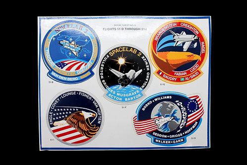 NASA Decal Sheet - Flights 51-D / 51-I