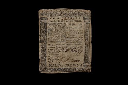 Delaware 1776 2 Shillings Note