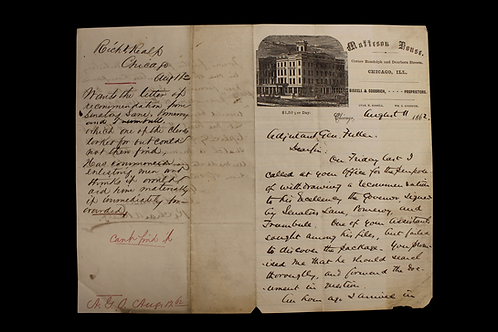 1862 Letter - Matteson House -  Chicago, Ill