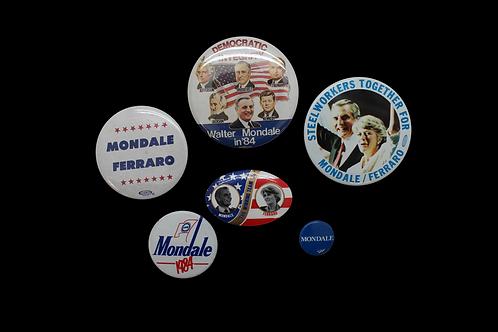 Six Vintage Mondale / Ferraro Campaign Pins