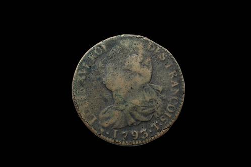 French Revolution 2 Sol Copper Coin 1792-1793
