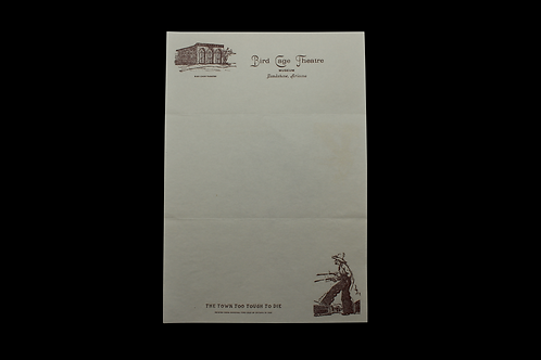 Tombstone Arizona Bird Cage Theatre Note Paper