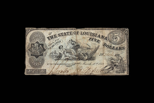 CONFEDERATE CURRENCY - FIVE DOLLARS - LOUISIANA