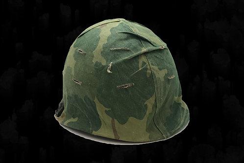 Original Vietnam War M-1 U.S. Helmet with Original Camo Cover
