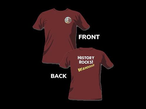 """Smoky Mountain Relic Room """"History Rocks"""" Maroon T-Shirt"""