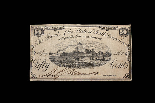 CONFEDERATE CURRENCY - FIFTY CENTS - SC