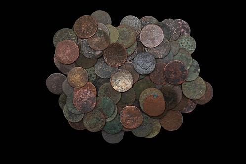 French Pirate Era 2 Deniers Copper Coin