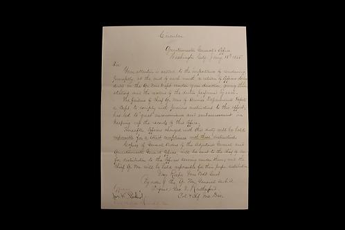 Brevet Brigadier General James F. Rusling Letter