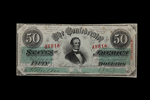1863 FIFTY NOTE - SIGNED G.P. CULVERHOUSE