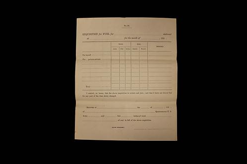 Requisition For Fuel Document - Civil War Era