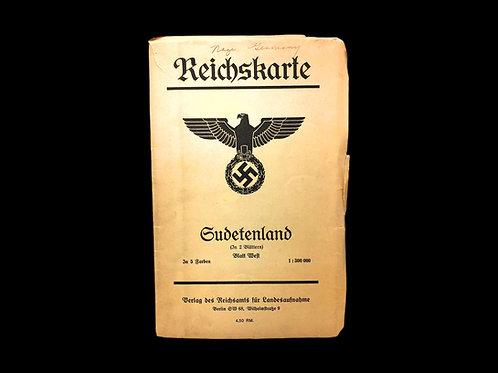 Original Road Map of Hitler's Nazi Germany Ca. 1938