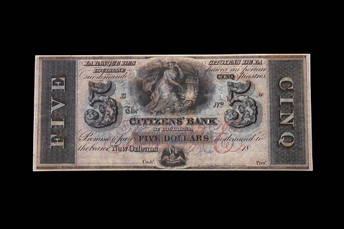 CONFEDERATE CURRENCY - FIVE DOLLARS - NEW ORLEANS