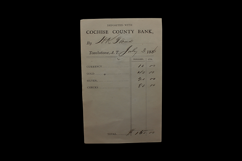 Cochise County Bank - Tombstone - 1886 Deposit Slip