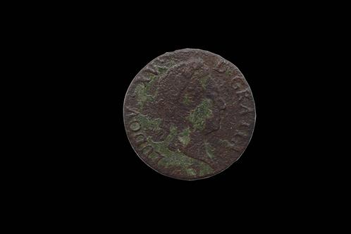 French Louis XV 6 Deniers Copper Coin 1711-1720