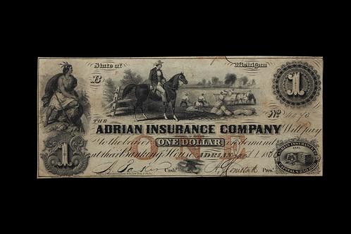 Michigan Adrian 1856 One Dollar Note
