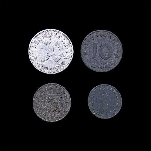 Nazi Germany Coins - Reichspfennig WW2 - 1,5,10, & 50 - Set of 4