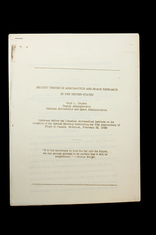 Original NASA Mercury Era Internal Report - Ca. 1958/59