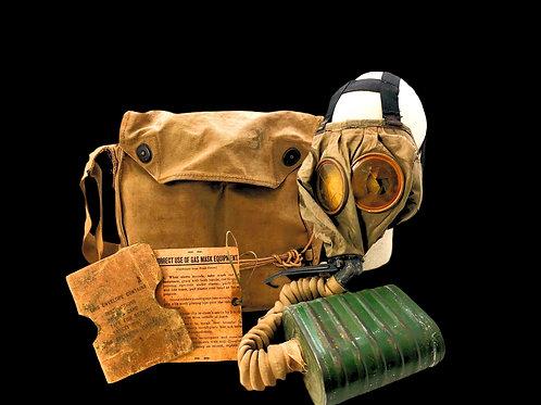 WW1 U.S. M-1 Gas Mask W/ Faint ID to Soldier on Bag