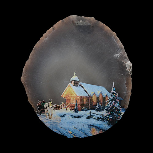Agate Slice With Christmas Scene