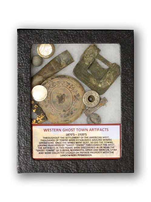 Western Ghost Town Artifacts in Display Frame
