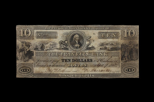 MASSACHUSETTS BOSTON 1835 TEN DOLLAY NOTE