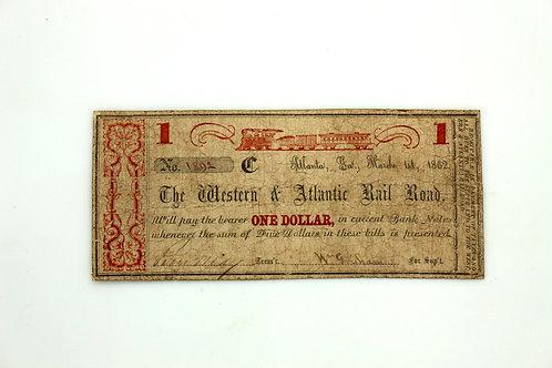 1862 Western & Atlantic Railroad Bond Certificate