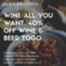 Wine All You Want. 40 off wine  beer tog