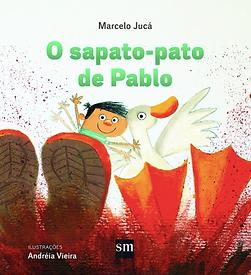 Um garoto e um pato aparecem pulando numa poça de lama, mostrando a sola da bota e a pata.